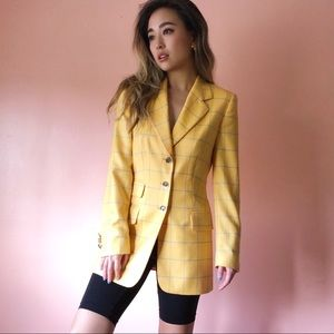 Vintage Escada Yellow Checkered Cashmere Blazer